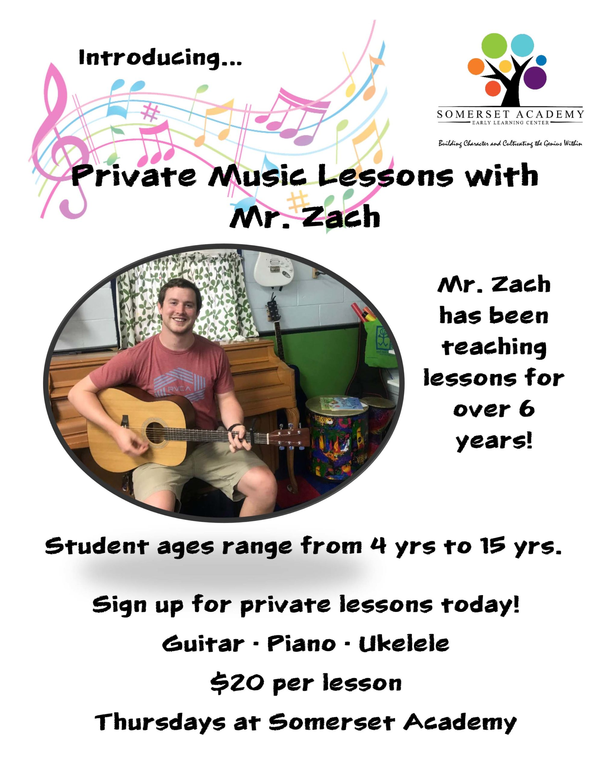 Flyer for private music lessons at Somerset Academy Early Learning Center for children ages 4-15 in Philadelphia